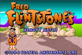Title screen of Fred Flintstones' Memory Match on the Arcade.