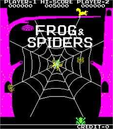 Title screen of Frog & Spiders on the Arcade.