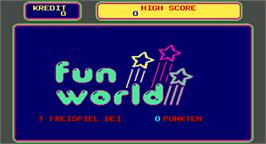 Title screen of Fun World Quiz on the Arcade.