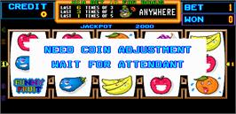 Title screen of Funny Fruit on the Arcade.