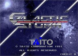 Title screen of Galactic Storm on the Arcade.