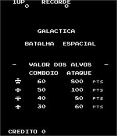 Title screen of Galactica - Batalha Espacial on the Arcade.