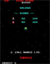 Title screen of Galaga on the Arcade.