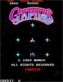 Title screen of Galaga 3 on the Arcade.