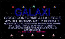 Title screen of Galaxi on the Arcade.