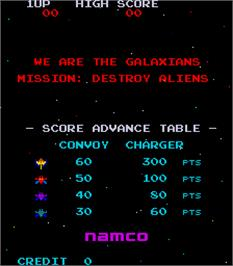 Title screen of Galaxian on the Arcade.