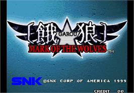Title screen of Garou - Mark of the Wolves on the Arcade.