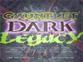 Title screen of Gauntlet Dark Legacy on the Arcade.