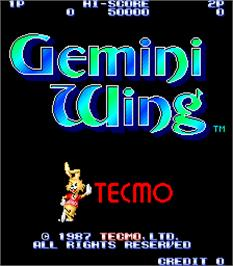 Title screen of Gemini Wing on the Arcade.