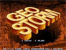 Title screen of Geostorm on the Arcade.