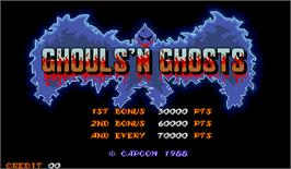 Title screen of Ghouls'n Ghosts on the Arcade.