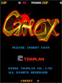 Title screen of Ghox on the Arcade.