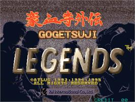Title screen of Gogetsuji Legends on the Arcade.