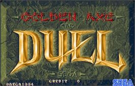 Title screen of Golden Axe - The Duel on the Arcade.