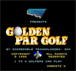 Title screen of Golden Par Golf on the Arcade.