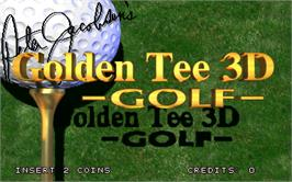 Title screen of Golden Tee 3D Golf Tournament on the Arcade.