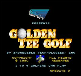 Title screen of Golden Tee Golf on the Arcade.