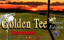 Title screen of Golden Tee Royal Edition Tournament on the Arcade.
