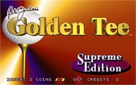 Title screen of Golden Tee Supreme Edition Tournament on the Arcade.