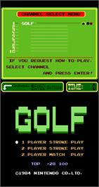 Title screen of Golf on the Arcade.