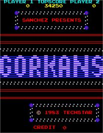 Title screen of Gorkans on the Arcade.