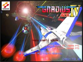 Title screen of Gradius 4: Fukkatsu on the Arcade.