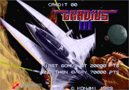Title screen of Gradius III on the Arcade.