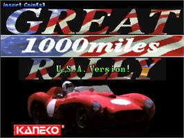 Title screen of Great 1000 Miles Rally: U.S.A Version! on the Arcade.