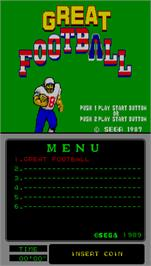 Title screen of Great Football on the Arcade.
