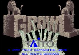 Title screen of Growl on the Arcade.