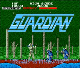 Title screen of Guardian on the Arcade.