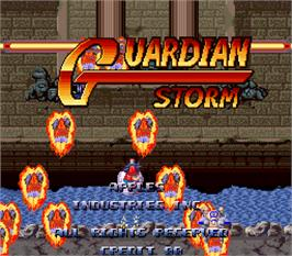 Title screen of Guardian Storm on the Arcade.