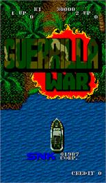 Title screen of Guerrilla War on the Arcade.