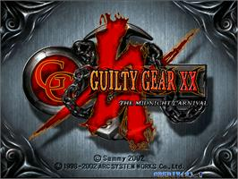 Title screen of Guilty Gear XX on the Arcade.
