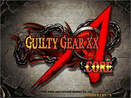 Title screen of Guilty Gear XX Accent Core on the Arcade.