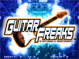 Title screen of Guitar Freaks on the Arcade.