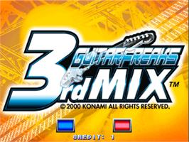 Title screen of Guitar Freaks 3rd Mix on the Arcade.
