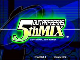 Title screen of Guitar Freaks 5th Mix on the Arcade.