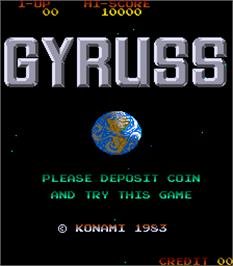 Title screen of Gyruss on the Arcade.