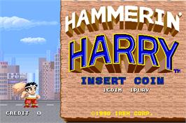 Title screen of Hammerin' Harry on the Arcade.