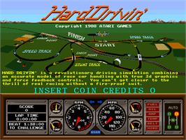 Title screen of Hard Drivin' on the Arcade.
