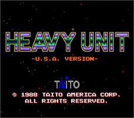 Title screen of Heavy Unit -U.S.A. Version- on the Arcade.