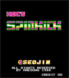 Title screen of Hec's Spinkick on the Arcade.
