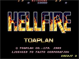 Title screen of Hellfire on the Arcade.