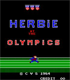 Title screen of Herbie at the Olympics on the Arcade.