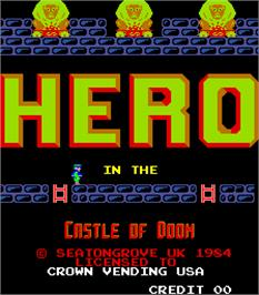 Title screen of Hero in the Castle of Doom on the Arcade.