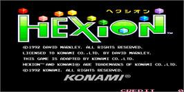 Title screen of Hexion on the Arcade.