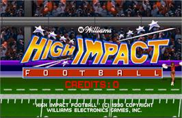 Title screen of High Impact Football on the Arcade.