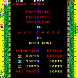 Title screen of Highway Chase on the Arcade.