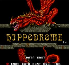 Title screen of Hippodrome on the Arcade.